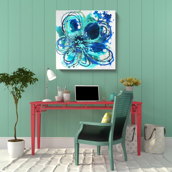 """STUDIO SALE. Blue Abstract Splash.  Blue Floral Acrylic Original Painting on Stretched Canvas 24 x 24 x 1.5"""""""