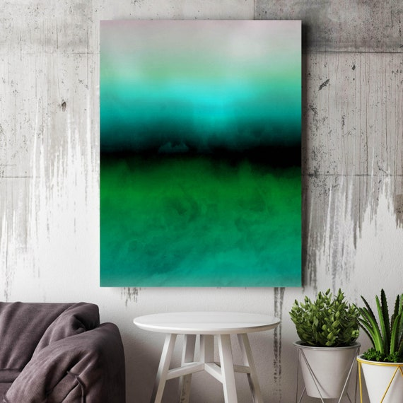 Abstract Minimalist Rothko Inspired 1-26. Abstract Painting Giclee of Original Wall Art, Blue Green Large Canvas Art Print up to 72""