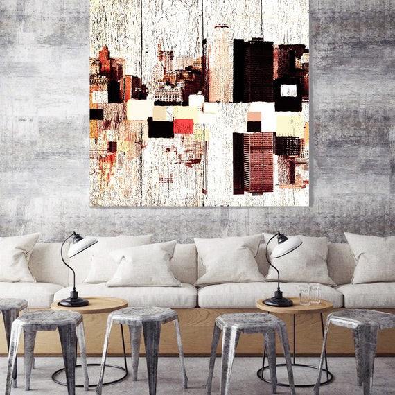 """New York, Colorful Downtown 2, Large Architectural Cityscape Canvas Art Print. Rustic Brown URBAN Canvas Art Print up to 48"""" by Irena Orlov"""