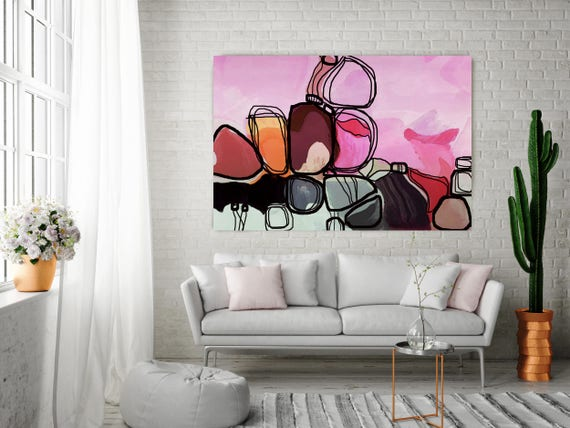 "Sierra Vista. Pink, Black Art, Wall Decor, Extra Large Abstract Colorful Contemporary Canvas Art Print up to 72"" by Irena Orlov"