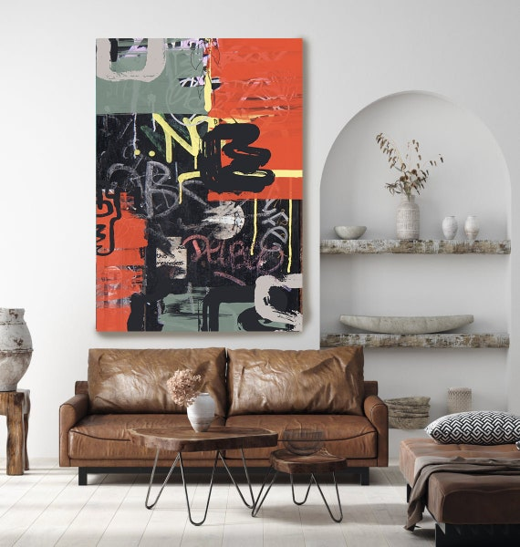 Graffiti Street Art Colorful Street Art Painting Print on Canvas, Large Canvas Print, Graffiti Style Painting, Going Graphic
