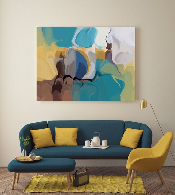 "Golden Canyons. Abstract Paintings Art, Wall Decor, Extra Large Abstract Blue Yellow Contemporary Canvas Art Print up to 72"" by Irena Orlov"