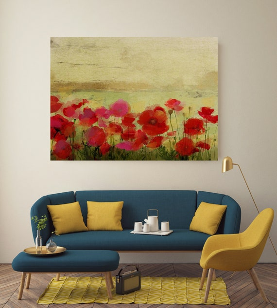 Field of Poppies. Floral Painting, Poppy Field, Poppy Painting - Print from Original Painting, Red Poppies, Poppy, Flower Canvas Print