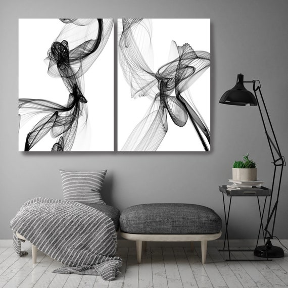 Minimalist Black and White,Black and White Diptych Stretched Canvas Wall Art Pair, Canvas Art Print, Abstract Black and White Wall Decor
