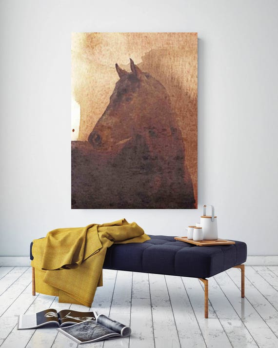 "Spirit II. Extra Large Horse, Unique Horse Wall Decor, Brown Rustic Horse, Large Contemporary Canvas Art Print up to 72"" by Irena Orlov"