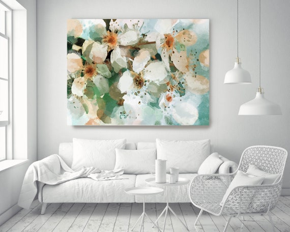"The brilliance of the day 4. Floral Painting, White Abstract Art, Blooming Watercolor Blue Green Canvas Art Print up to 72"" by Irena Orlov"