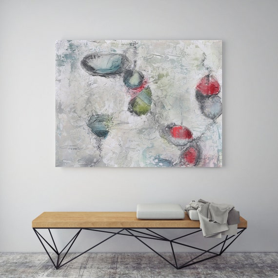 "Visual Comfort. Abstract Paintings Art, Wall Decor, Extra Large Abstract Red White Canvas Art Print up to 72"" by Irena Orlov"