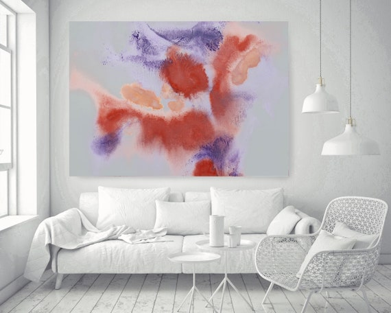 "Purple Red Yellow Watercolor abstract splash 13, Watercolor Abstract,  Extra Large Contemporary Canvas Art Print up to 72"" by Irena Orlov"