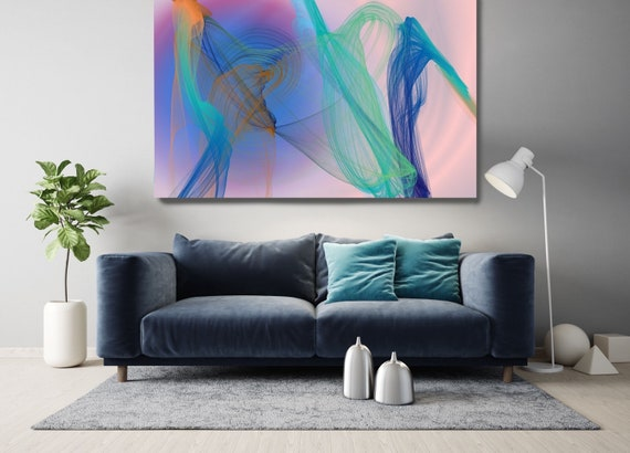 Pink Teal Contemporary Wall Art Office Decoration Vibrant Wall Art Electric Canvas Print Home Decor, New Media, Color in the Lines 20