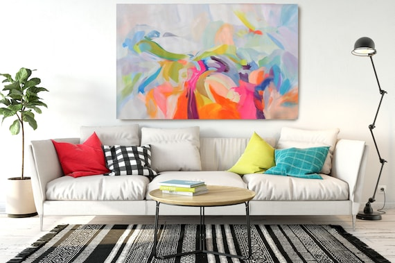 """Dynamic Perseverance, Abstract Painting Modern Wall Art Painting Canvas Art Print Art Modern Pink Blue Red up to 80"""" by Irena Orlov"""