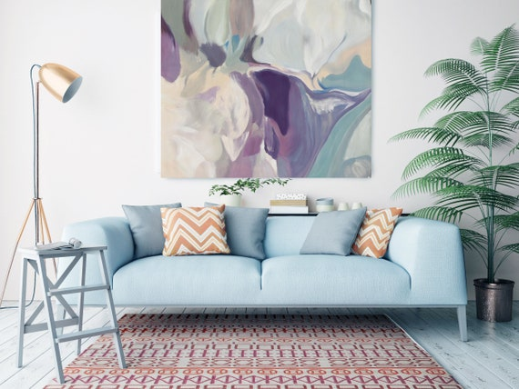 """Mixed Feelings, Huge Turquoise Purple Beige Gray Abstract Modern Canvas Art Print, Canvas Painting Print up to 50"""" by Irena Orlov"""