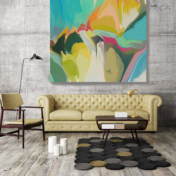 """Color Palette 299. Original Oil Painting on Canvas, Contemporary Abstract Green, Blue, Teal, Pink Oil Painting up to 50"""" by Irena Orlov"""