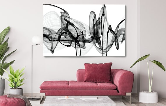 Black and White Canvas Print, Abstract Large Wall Art, Office Decor Minimalist Canvas Art, Black and White Textured Painting, The true