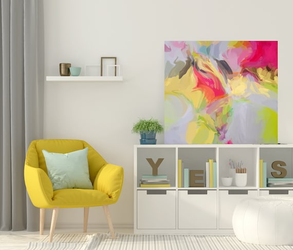 """Basis of Passion, Yellow Red Abstract Art Print, Abstract Canvas, Yellow Extra Large Painting Canvas Print up to 50"""" by Irena Orlov"""