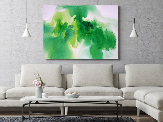 "ORL-11782-1 Green - Abstract Watercolor. Contemporary Abstract Green Blue Canvas Art Print up to 72"", by Irena Orlov"