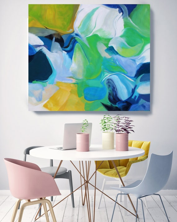 "California Breeze. Original Contemporary Extra Large Blue, Green Abstract Oil Painting on Canvas 50 x 50"" Not stretched"