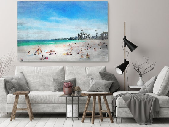 Oh Summer 1-5, Rustic Seascape Painting Canvas Art Print, Seascape Large Blue Canvas Art Print, Beach Art, Beach Painting, Coastal Artwork