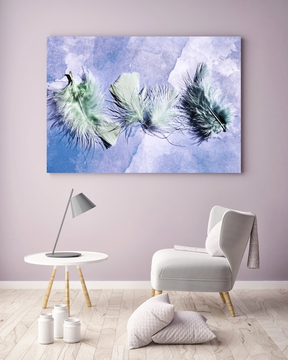 "ORL-11762 Elegant feathers in purple, Green Purple Feather Photography, Extra Large Feather Canvas Art Print up to 72"" by Irena Orlov"