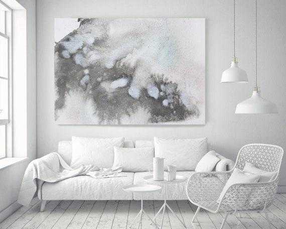 """Blue Grey Silver Watercolor abstract splash 1. Watercolor Abstract Blue Black Canvas Art Print up to 72"""" by Irena Orlov"""