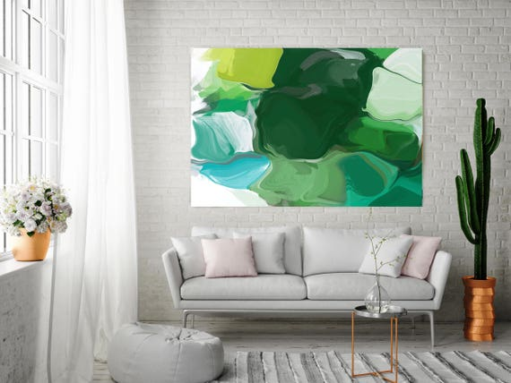"Ode To Spring. Green Abstract Paintings Art, Extra Large Abstract Colorful Contemporary Canvas Art Print up to 72"" by Irena Orlov"