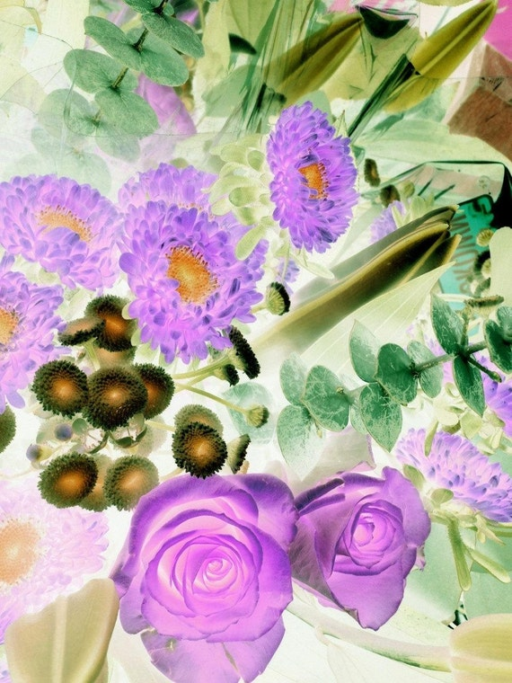 "Enduring Passion. Floral Painting, Purple Green Abstract Art, Large Abstract Colorful Contemporary Canvas Art Print up to 72"" by Irena Orlov"