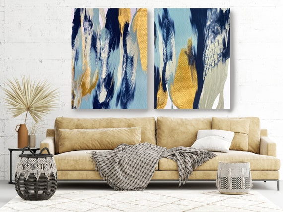Gold  Reflection, Diptych-2 piece-Gold Blue Turquoise Abstract Painting, Extra Large Abstract Canvas Print