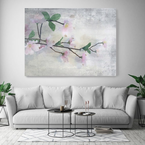 A Fresh Start. Floral Painting, blossom canvas art print, blossoming painting, pink blue floral painting, blossoming tree canvas print