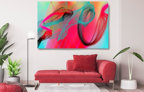Red Teal Contemporary Wall Art, Office Decoration Vibrant Wall Art Electric Canvas Print, Home Decor, New Media, Color in the Lines 04-29-98