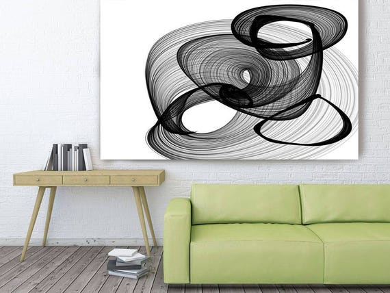 "Abstract Black and White 17-31-59. Contemporary Unique Abstract Wall Decor, Large Contemporary Canvas Art Print up to 72"" by Irena Orlov"