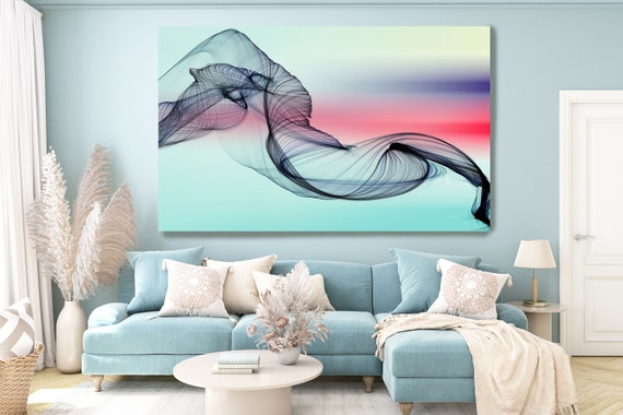 Blue Pink Abstract Painting, Flow Abstract Art, Contemporary Art, Canvas Art Print, New Media Artwork, New Media Art, Line Art, Flow Art