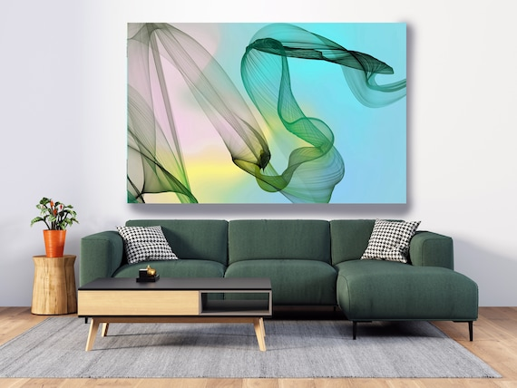 Aqua Yellow Flow Modern Abstract Wall Art Decor, Abstract Canvas Print Modern Trendy Wall art Luxury Abstract Painting