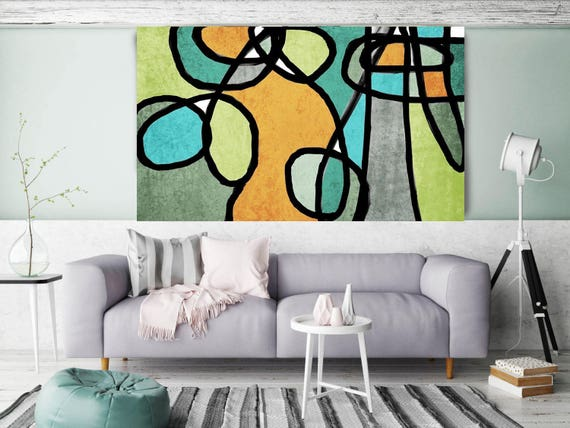 "Vibrant Colorful Abstract-0-41. Mid-Century Modern Green Canvas Art Print, Mid Century Modern Canvas Art Print up to 72"" by Irena Orlov"