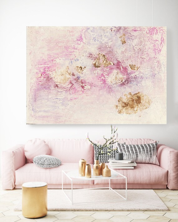 Charming, Abstract Painting with Gold Leaf Detailing, Pink, White and Gold Acrylic, Pink Gold Canvas Print, Abstract textured painting pink