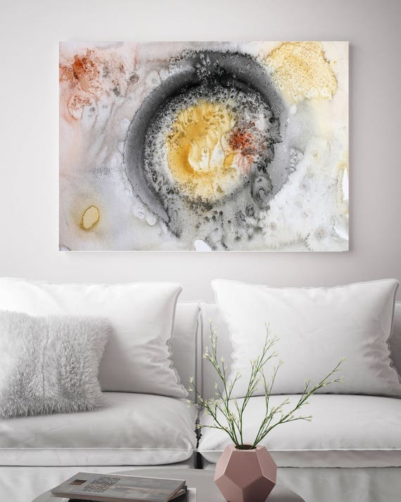 """Coastal Watercolor Abstract 101. Watercolor Abstract Yellow Black Orange Canvas Art Print, Extra Large Canvas Art up to 72"""" by Irena Orlov"""