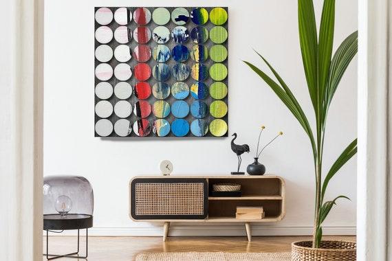 Geometric Abstract Painting, Circles Abstract Art, Red Green Circles, Large Canvas Art Print, Visual Experience 14, Abstract Canvas Print