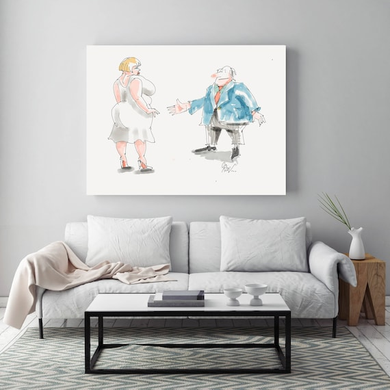 "My Love, People Illustration art print. White Blue Large Canvas Art Print, Wall Decor up to 72"" by Zeev Orlov"