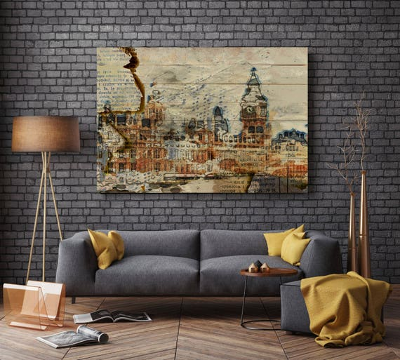"""London Big Ben, Large Architectural Cityscape Canvas Art Print. Rustic Brown URBAN Canvas Art Print up to 72"""" by Irena Orlov"""