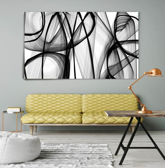 "A spiritual being. Contemporary Abstract Black and White, Unique Wall Decor, Large Contemporary Canvas Art Print up to 72"" by Irena Orlov"