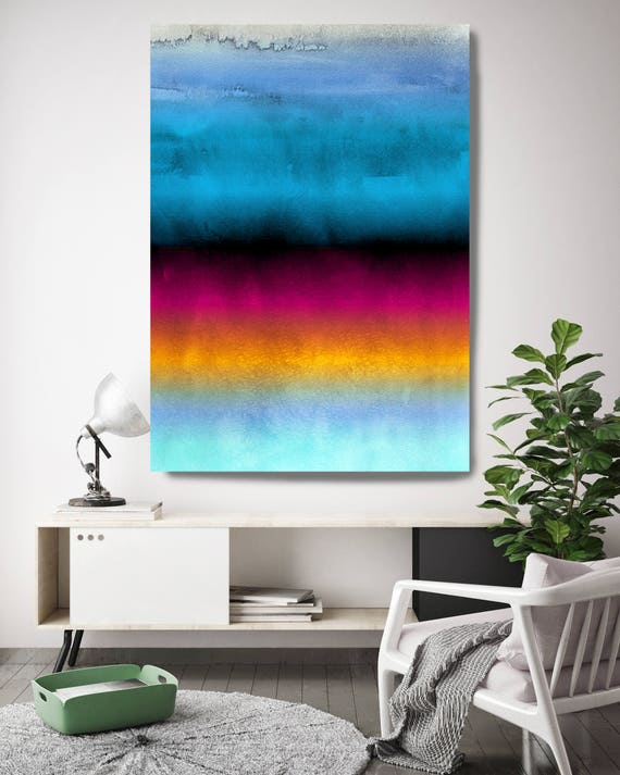 "Inspired by Rothko 45. Ombre Watercolor Abstract, Blue Red Watercolor Painting Print Canvas Art Print up to 72"" by Irena Orlov"