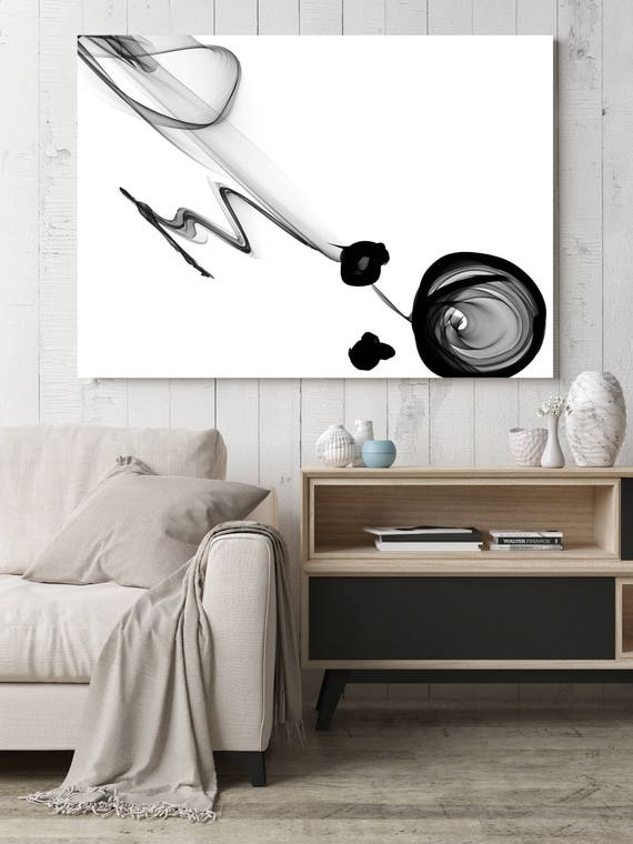 "Abstract Black and White Art 2015-01-06-2. Unique Abstract Wall Decor, Large Contemporary Canvas Art Print up to 72"" by Irena Orlov"