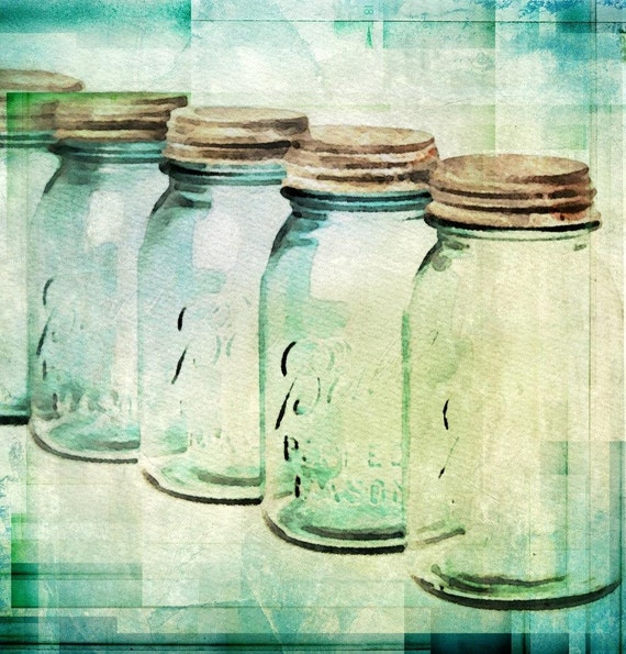 "Vintage Jars. Jars Blue Green Canvas Art Print up to 40"" by Irena Orlov"