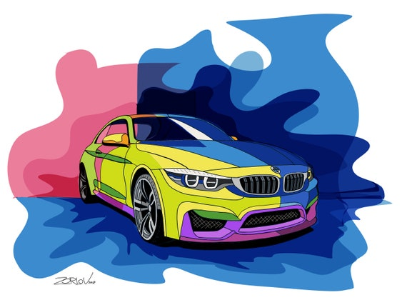 "BMW, BMW art print. Large Pink Blue Green BMW Painting Canvas Art Print, Luxury Cars Wall Decor up to 72"" by Zeev Orlov"
