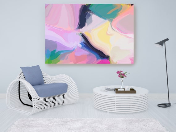 A Glorious Celebration, Pink Blue Yellow Abstract Painting, Abstract Painting, Contemporary Art, Hand Painted extra large canvas print