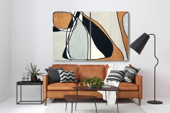 DIPTYCH 2 Pieces Line Art Modern Coper Black Canvas Art Print Scandinavian print Minimalist Wall decor Minimalist Abstract Line Art 17