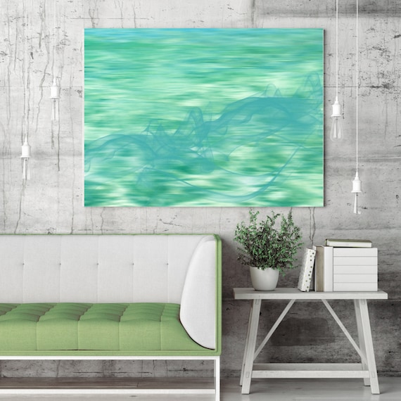 "The smell of the ocean. Extra Large Contemporary Teal Art Canvas Print, Seascape Abstract Canvas Wall Art up to 80""  by Irena Orlov"