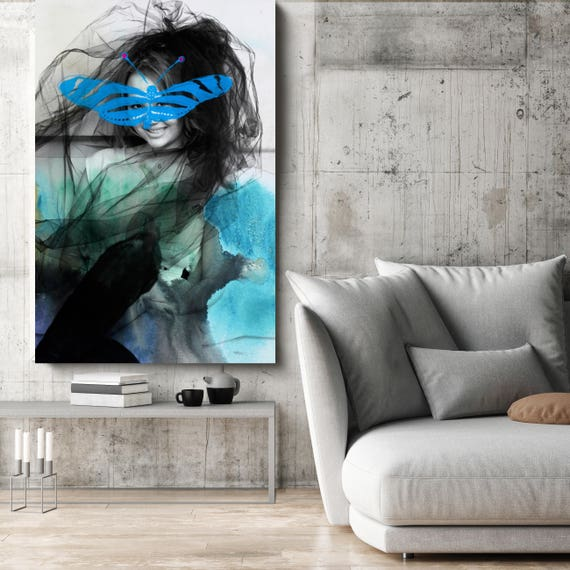 "Blue Butterfly 2, Figurative Mixed Media Contemporary Blue Black Woman Canvas Art Print up to 72"" by Irena Orlov"