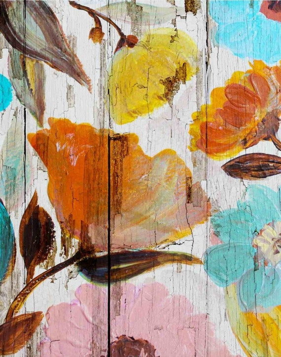 "Spring Maidens III. Floral Painting, Yellow Orange Abstract Art, Abstract Colorful Contemporary Canvas Art Print up to 72"" by Irena Orlov"