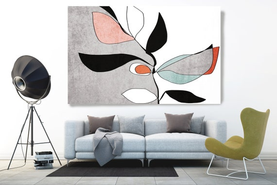 Abstract Bloom 2. Line Art Canvas Print, Blue Grey Pink Red Modern Minimalist Abstract Wall Art Canvas Print Textured Artwork