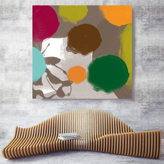 """Abstract Drops. Geometrical Abstract Art, Wall Decor, Extra Large Abstract Colorful Contemporary Canvas Art Print up to 48"""" by Irena Orlov"""