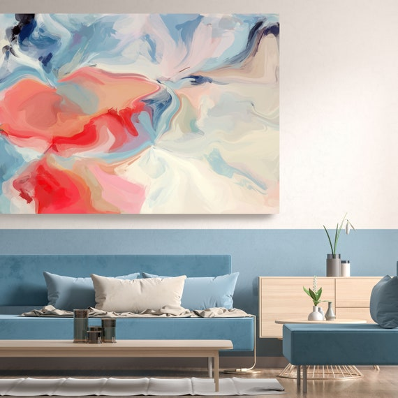 Blue Red Flow Extra Large Abstract Painting, Red Abstract Art, Large Wall Art Abstract Canvas Print, Colorful Abstract Trending Modern Art
